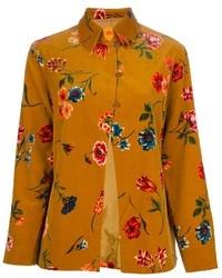 Gelbe Bluse mit Knöpfen mit Blumenmuster