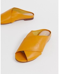 gelbe flache Sandalen aus Leder von Aldo