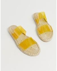 gelbe Gummi flache Sandalen von ASOS DESIGN