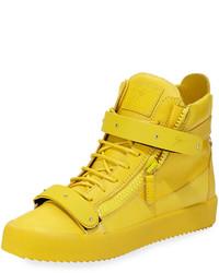 gelbe hohe Sneakers aus Leder