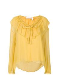 gelbe Langarmbluse mit Rüschen von See by Chloe