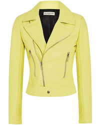 gelbe Leder Bikerjacke von Balenciaga