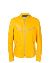 gelbe Leder Bomberjacke von Drome