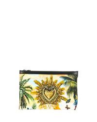 gelbe Leder Clutch Handtasche von Dolce & Gabbana