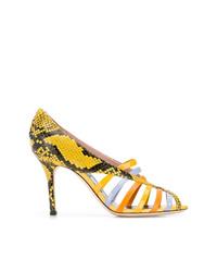 gelbe Leder Pumps mit Ausschnitten von Emilio Pucci