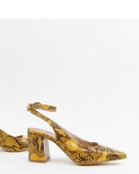 gelbe Leder Pumps mit Schlangenmuster von New Look