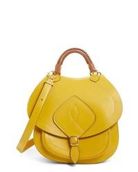 gelbe Satchel-Tasche aus Leder