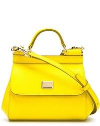 gelbe Satchel-Tasche aus Leder von Dolce & Gabbana