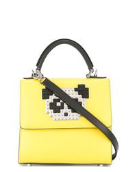gelbe Satchel-Tasche aus Leder von Les Petits Joueurs