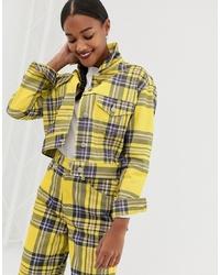 gelbe Shirtjacke mit Schottenmuster von ASOS DESIGN