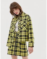 gelbe Shirtjacke mit Schottenmuster von Monki