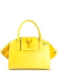 gelbe Shopper Tasche aus Leder