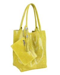 gelbe Shopper Tasche aus Leder von COLLEZIONE ALESSANDRO