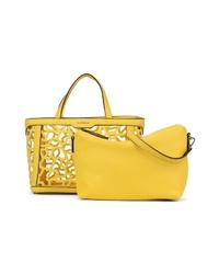 gelbe Shopper Tasche aus Leder von EMILY & NOAH
