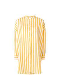 gelbe vertikal gestreifte Bluse mit Knöpfen