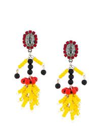 gelbe verziert mit Perlen Ohrringe von Marni