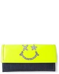 gelbe verzierte Leder Clutch