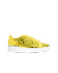 gelbe verzierte Leder niedrige Sneakers von Philipp Plein