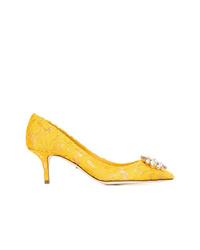 gelbe verzierte Satin Pumps von Dolce & Gabbana