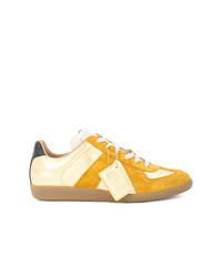 gelbe Wildleder niedrige Sneakers von Maison Margiela