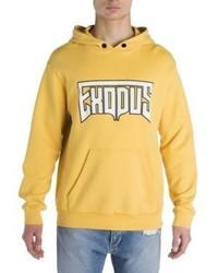 gelber bedruckter Pullover mit einem Kapuze