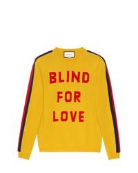 gelber bedruckter Pullover mit einem Rundhalsausschnitt von Gucci