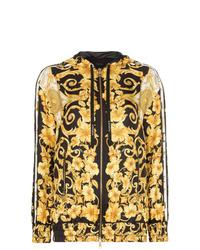 gelber bedruckter Pullover mit einer Kapuze von Versace