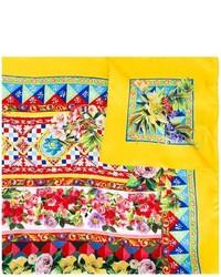 gelber bedruckter Seideschal von Dolce & Gabbana