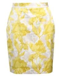 gelber Bleistiftrock mit Blumenmuster von Banana Republic