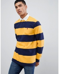 gelber horizontal gestreifter Polo Pullover