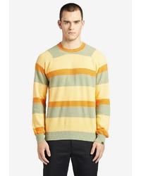gelber horizontal gestreifter Pullover mit einem Rundhalsausschnitt von khujo