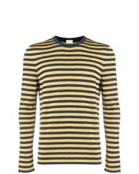 gelber horizontal gestreifter Pullover mit einem Rundhalsausschnitt von Saint Laurent
