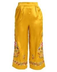 gelber Hosenrock mit Blumenmuster von Topshop