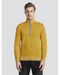 gelber Pullover mit einem Reißverschluss am Kragen von Tom Tailor