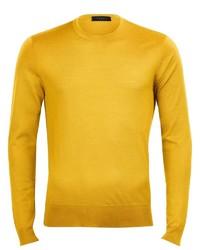 gelber Pullover mit einem Rundhalsausschnitt von Falke