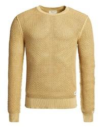 gelber Pullover mit einem Rundhalsausschnitt von khujo