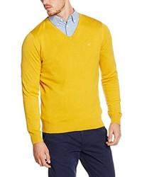 Größe 40 Bestellung große Auswahl Modische gelben Pullover mit einem V-Ausschnitt für Herren ...