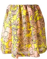 gelber Skaterrock mit Blumenmuster von MSGM