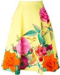 gelber Skaterrock mit Blumenmuster von P.A.R.O.S.H.
