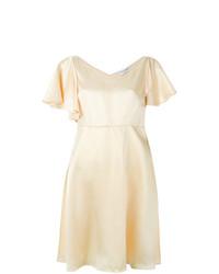 gelbes ausgestelltes Kleid aus Seide von Saint Laurent