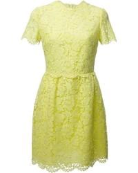 gelbes ausgestelltes Kleid aus Spitze von Valentino