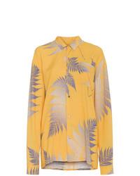 gelbes bedrucktes Businesshemd von Double Rainbouu