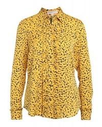 gelbes bedrucktes Businesshemd von Michael Kors