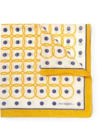 gelbes bedrucktes Einstecktuch von Boglioli