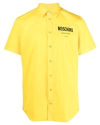 gelbes bedrucktes Kurzarmhemd von Moschino
