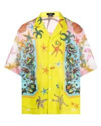 gelbes bedrucktes Kurzarmhemd von Versace