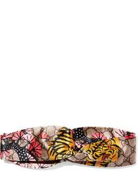 gelbes bedrucktes Satin Haarband von Gucci