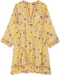 gelbes bedrucktes schwingendes Kleid von Isabel Marant