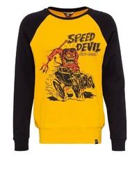 gelbes bedrucktes Sweatshirt von KINGKEROSIN