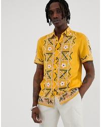 gelbes besticktes Kurzarmhemd von ASOS DESIGN